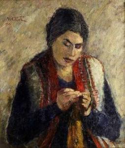 Umberto Vittorini - Donna che lavora, 1932, olio su tela