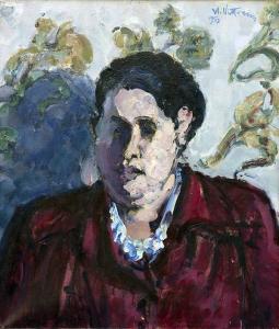 Umberto Vittorini - Ritratto di donna, 1953, olio su tela